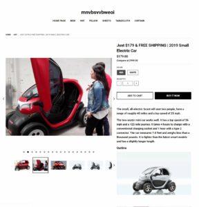 online scam Facebook electric car scoot fake website