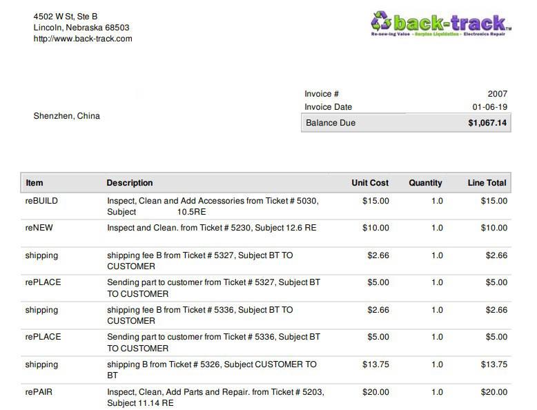 sample back-track customer return repair invoice